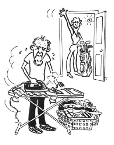 Old Man Ironing Image